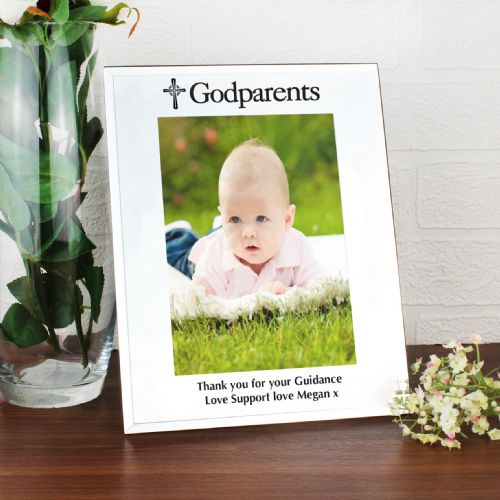 Personalised Mirrored Godparents Glass Frame 5x7